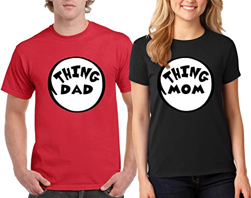 Thing DAD and Thing MOM The Cat in the Hat Design Couple Round Neck T-Shirt (Cat In The Hat T Shirts Adults)