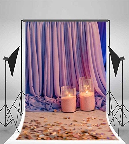 CdHBH 10x12ft Wedding Party Background Casual Night Monochrome Yarn Curtain Candle Petals Wedding Anniversary Photo Wallpaper Home Decoration Portrait Clothing Photo Photography Background Cloth