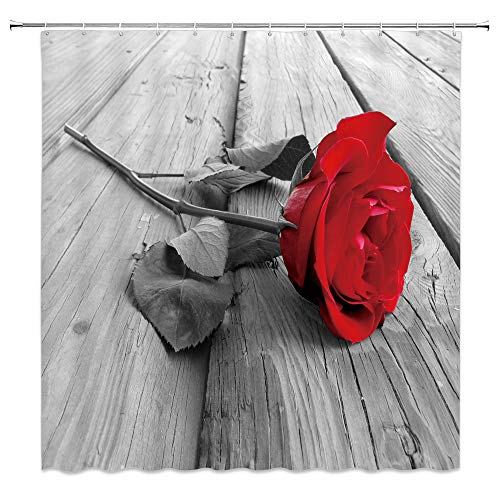 Awesome Red Rose Shower Curtain Decor Flower on Grey Wooden Floor Wood Romance Romantic Love Bathroom Curtain Polyester Fabric Machine Washable with Hooks 70 x 70 Inches ()