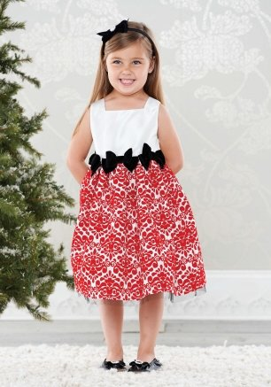 Mud Pie Christmas Diva Red Damask Dress, -