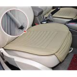 YN-Monedie® Auto Interior Accessories Styling PU Leather Charcoal Car Seat Cover Pad Seat cushion Mat Protective Cover for Car/ Office Chair ,Universal Seatpad (Beige- Front row)