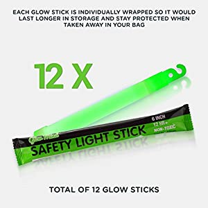 "12 Ultra Bright Glow Sticks - 6"" Emergency Light Sticks for Camping, Parties, Hurricane Supplies, Earthquake, Survival Kit and More - Lasts Over 12 Hours (Green)"