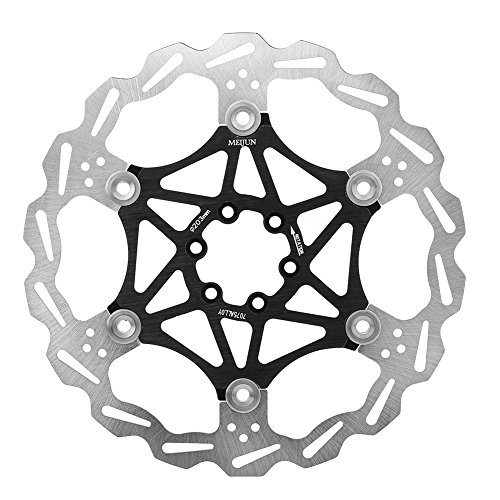 Tbest Floating Disc Brake Rotor,160/180/203mm Mountain Bike Type Floating Brake Disc Bicycle Brake Pad Cycling Accessory for Most Bicycle Road Bike Mountain Bike BMX MTB(203mm-Black)
