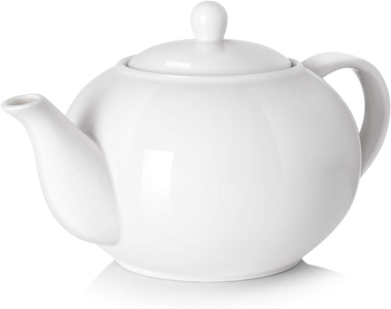 DOWAN Porcelain Teapot, 40 Ounce Tea Pot - Large Enough for 5 Cups, White