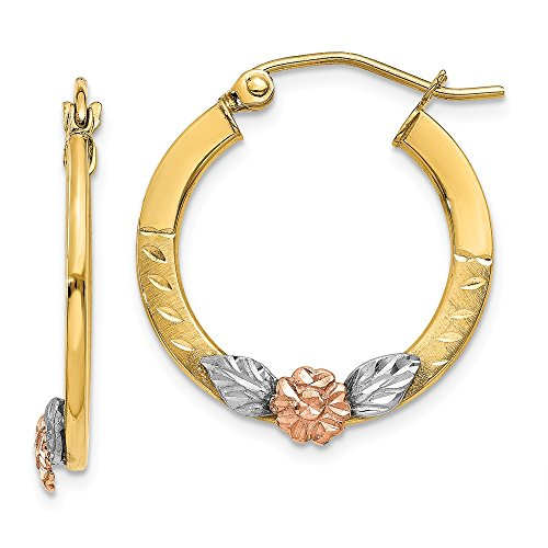 14K Yellow & Rose Gold w/ Rhodium Diamond Cut Flower Hoop Earrings (Diamond Rhodium Flower Cut)