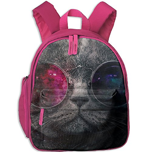 Galaxy Cat With Sunglass Children Backpack For School Have Double Zipper - Brad Pitt Glasses With