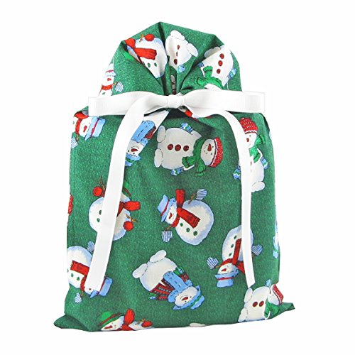 Snowmen on Green Reusable Fabric Gift Bag for Christmas (Standard 10 Inches Wide by 15 Inches High)