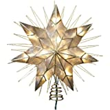 Kurt Adler 7-point Natural Capiz Star Lighted Tree Topper With Wire Rays Accent, 12-inch