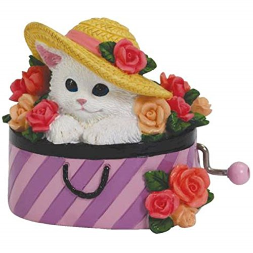 WL SS-WL-21218 Purple Stripes Hat Box Musical Hand Crank with Cat & Flowers, (Ss 3