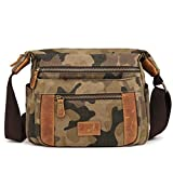 Kemy's Canvas Crossbody Bags for Women Travel Vintage Leather Cross Body Bag Over the Shoulder Purse Traveling Small Camo Thanksgiving Day Christmas Gift