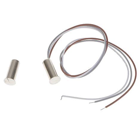 MagiDeal Interruptor de Contacto Magnético Empotrado Sensor Alarma de Puerta Ventana Home RoboSilver
