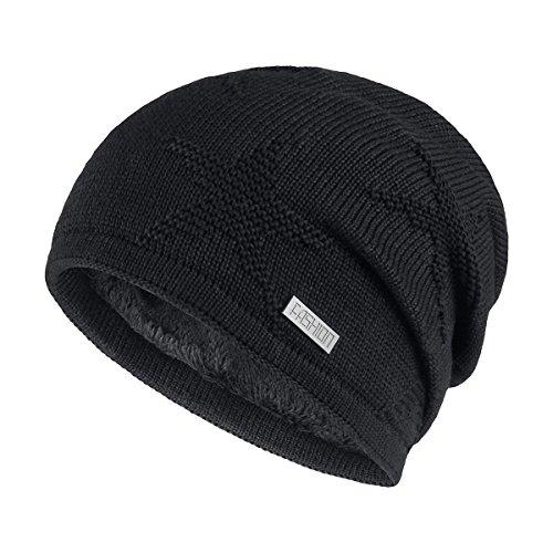 OMECHY Winter Knit Slouchy Beanie Hat Unisex Daily Warm Ski Skull Cap, Black