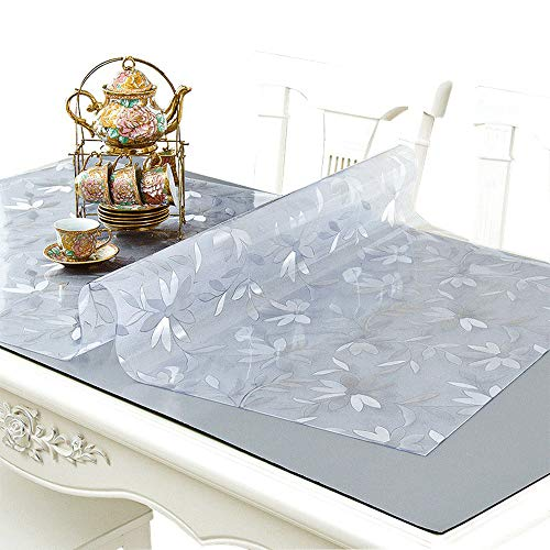 NECAUX Custom Multi-Size 1.5mm Thick Floral Table Cover Protector - Plastic Wipeable Desk Cover for Wood Dining Furniture Glass Coffee End Side Tabletop (30