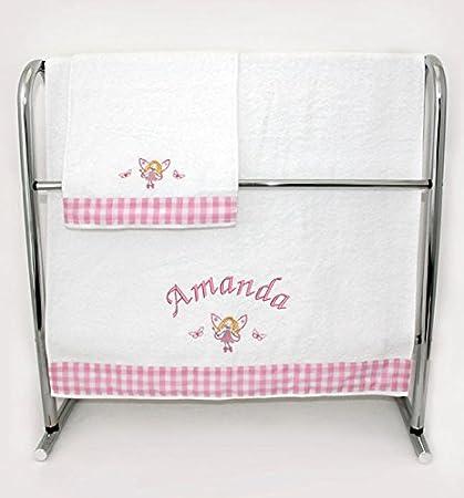 Personalizado toalla de mano y baño bebé con bordado diseños Pink - Personalised