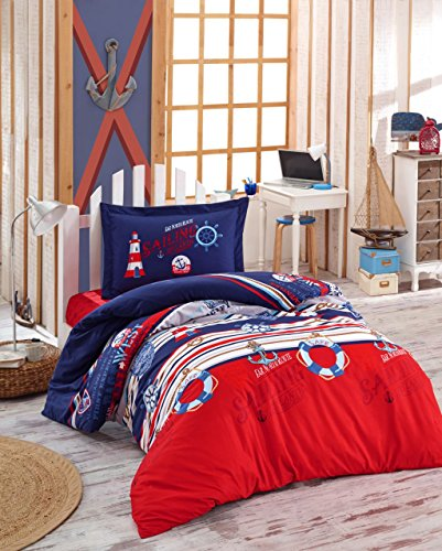Bekata Sailing Nautical Bedding Set, 100% Cotton Duvet Cover Set, Anchors, Compass, Lifebuoy, Lighthouse Themed, Single/Twin Size, Navy Blue Red White, (3 PCS)