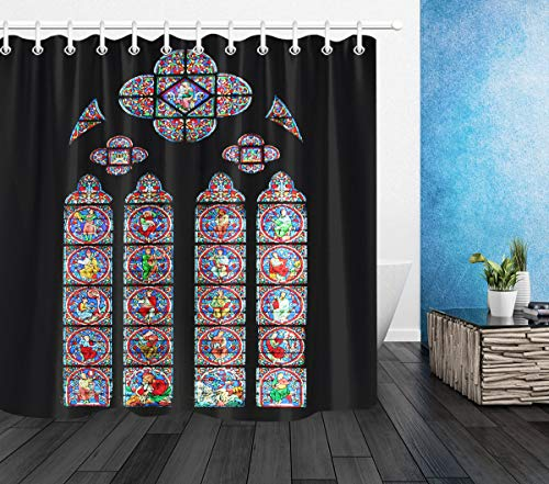 LB Notre Dame de Paris Cathedral Shower Curtain Christian Church Rose Window French European Architecture Bathroom Curtains Hooks Polyester Fabric Shower Room Decor 72x72 inch Waterproof