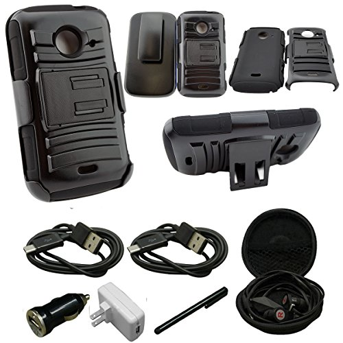 (Hybrid Armor Stand Case with Holster and Locking Belt Clip For ZTE Z667 (AT&T) Zinger (T-Mobile) Whirl 2 (Net 10) - Includes [Wall Charger Data Cable] + [Car Charger Data Cable] + [Touch Screen Stylus] + [2 Data Cables] + [Hands Free Earphone] (HOLSTER BLACK))