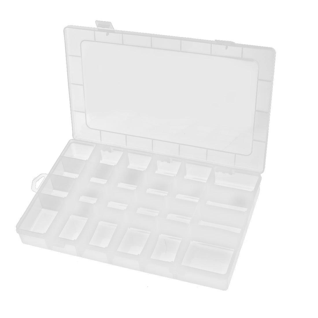 uxcell 345mmx215mmx45mm 24 Slots Component Storage Organizer Case Clear DIY Tool