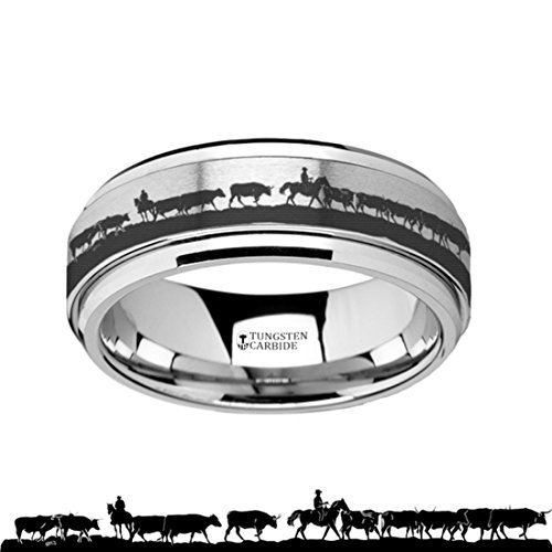 Thorsten Spinning Ring Inside Engraved Western Ranch Herding Cattle Cows Steers Tungsten Carbide Spinner 8mm Wide Wedding Band with Custom Inside Engraved Personalized from Roy Rose Jewelry