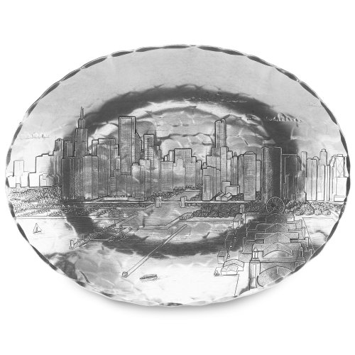 Chicago Cityscape Oval Dish, Medium, Handmande in the USA by Wendell August Forge (One Serving Tray Pier)