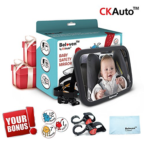 Premium Baby Car Back Seat Mirror, Wide Convex Shatterproof Glass, Fully Assembled, Crash Tested, Free Gift.