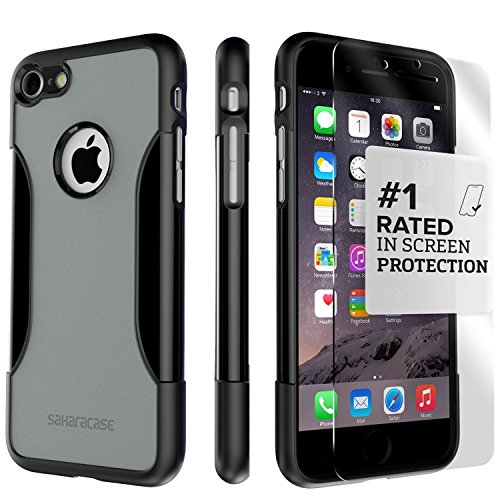 iPhone 6 Case, 6s SaharaCase Protective Kit (Gray) + [ZeroDamage Tempered Glass Screen Protector] Rugged Slim Fit Cover [Shock-Absorbing Reinforced Bumper] Scratch-Resistant Hard Back (Black/Gray) (I Phone 6 64 Gb Verizon)
