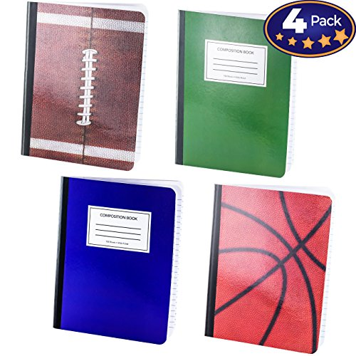 Notebook Wide Ruled Paper 4 Pack. 9 3/4 x 7 1/2 inch Notepads are Great Back to School Gifts. Different Designs Make Organizing for Class Easy. Includes Schedule and Other Useful Tools by Eucatus Best Products and Gifts