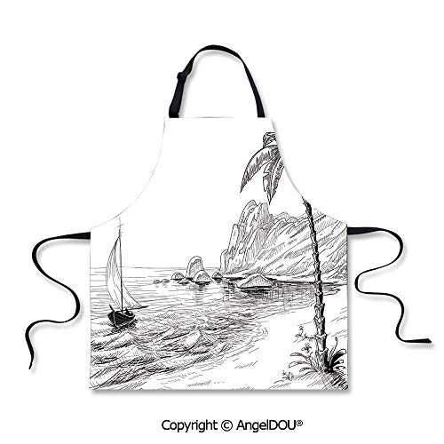 SCOXIXI Printed Unique Cool Kitchen Apron Sea Coast Beach with Palm Tree Boat and Hills Exotic Holiday Home Cooking BBQ Apron Cleaning Accessory.]()