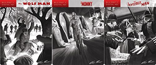Universal Horror Monster Steelbook Set - The Invisible Man, Wolf-Man & The Mummy with Alex Ross Art Exclusive 3-Blu-ray Bundle
