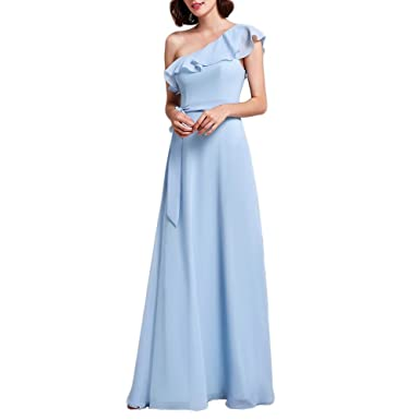 ff9fc8f1672 YUOHT Chiffon Ruffles Quinceanera Bridesmaid Maxi Dress Sleeveless A-Line Evening  Party Gown Dresses Blue