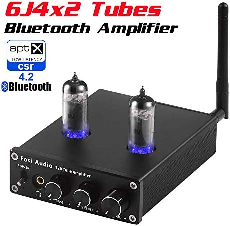 T20 Bluetooth Tube Amplifier Stereo Receiver 2 Channel Class D Digital Mini Hi-Fi Power Amp Preamp Compact Integrated Headphone Amplifier for Home Passive Speakers with 6J4 Vacuum tubes Power Supply