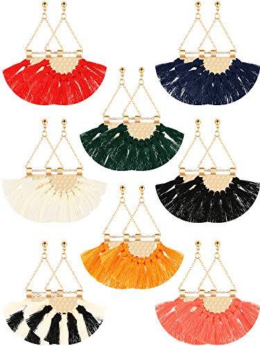 8 Pairs Handmade Tassel Earrings Bohemian Fringe Dangle Earrings Fan Shape Tassel Earrings for Women Girls - Fan Shape