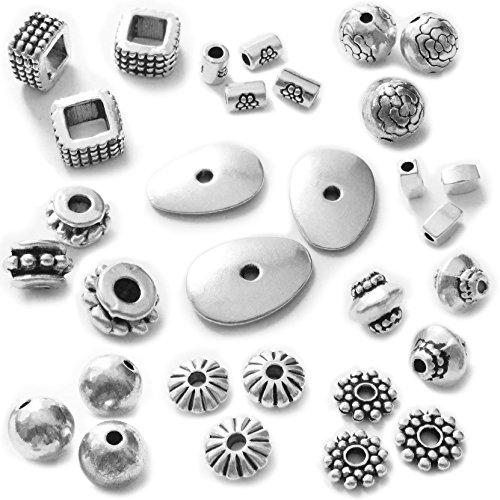 (Heather's cf 227 Pcs Combination Classic Finding Zinc Alloy Tibetan Silver Small Hole Metal Spacer Beads Mix Lot Jewelry Findings)