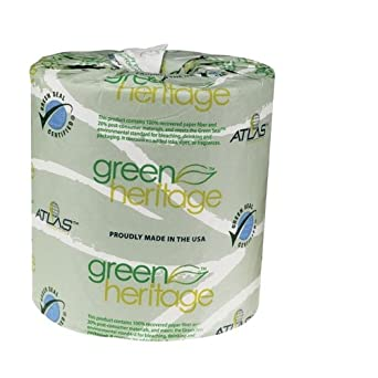 """Green Heritage 205GREEN 4.5"""" Length x 3.5"""" Width, 2-Ply Bathroom Tissue (Case of 48, 500 Sheets per Roll)"""