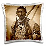 """3dRose Two Guns White Calf Blackfoot Indian Chief Profile on Buffalo Nickel Sepia-Pillow Case, 16 by 16"""" (pc_77339_1)"""