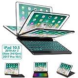 iPad Pro 10.5 Keyboard Case for iPad Pro 10.5 inch 2017 iPad Air 10.5(3rd Gen) 2019 - 360 Rotatable BT Wireless Backlit Keyboard Case Smart Auto Sleep-Wake Case Ultra-Thin Keyboard Cover (Black)