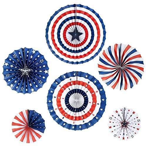 iShyan 4th of July Decorations Paper Fan for Patriotic Decoration Independence Day Party Supplies Red White Blue Hanging Paper Fans, -