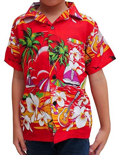 Raan Pah Muang Childrens Hawaiian Shirt in Summer Printed Rayon Seaside Beach Fun, 6-8 Years, Seaside Art Lava Red (Lava Hawaiian Shirt)