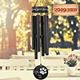 Astarin Pet Memorial Wind Chime, 30'' Paw Print Pet Remembrance Gift to Honor and Remember a Dog, Cat, or Other Pet, Premium Metal Wind Chime, Black