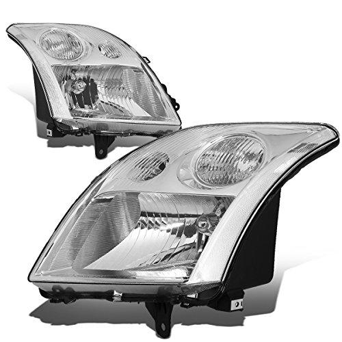 (For Nissan Sentra 2.0L I4 Sedan Pair of Chrome Housing Clear Corner Headlight)