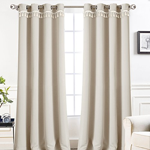 DriftAway Darcy Tassel Trim Solid Thermal Blackout Grommet Window Curtains, Set of Two Panels, 52