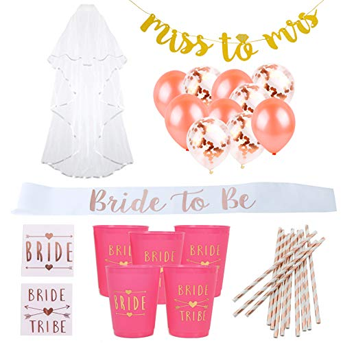 Bachelorette Party Decorations Kit | Bridal Shower Decorations | Bachelorette Party Decorations Rose Gold Confetti Balloons, Miss to Mrs Banner, Bachelorette Party Straws, Bachelorette Sash and (Bridal Rose Cup)