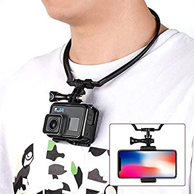 Smartphone Selfie Neck Holder Mount for GoPro Action Camera and Cell Phone Video Shooting Accessories Black