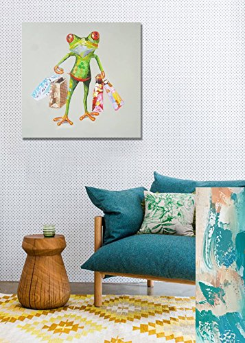 Frog Paintings 100% Hand Painted Cute Animal Canvas Oil Painting Stretched and Framed Ready to Hang Living Room Bedroom Office Bathroom 24'' x24'' by Paimuni (Image #2)