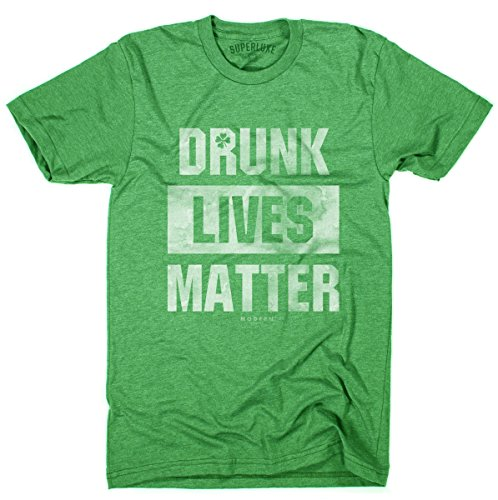 Superluxe Clothing Mens/Unisex Drunk Lives Matter Funny St Patricks Day Crew Neck T-Shirt, Kelly Green, 2X-Large