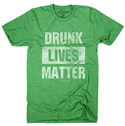 Superluxe Clothing Mens/Unisex Drunk Lives Matter Funny St Patricks Day Crew Neck T-Shirt, Kelly Green, -