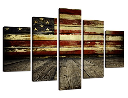 Wooden American Flag Wall Pictures for Living Room USA Canvas Print Retro US Flag Modern Painting 5 piece Framed Hooks Posters and Prints Bedroom Giclee Print Gallery Wrap Stretched(60''W x 40''H) ()
