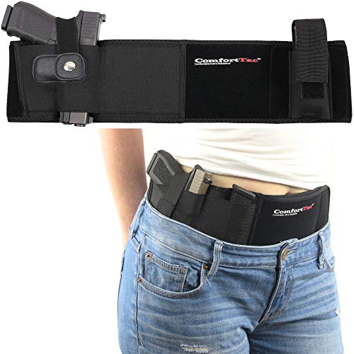 Ultimate Belly Band Holster for Concealed Carry | Black | Fits Gun Smith and Wesson Bodyguard, Shield, Glock 19, 42, 43, P238, Ruger LCP, and Similar Sized Guns | For Men and Women | Right Hand Draw (Best Owb Holster For Glock 19 Concealed Carry)