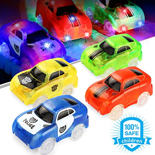 (Track Cars, BOVN Light-Up Fastest Speed Tracks Cars Replacement With 5 Flashing LED Lights Race Car Toy Racing Cars Track Accessories Compatible with Most Tracks(4 Packs) (5 LED Lights))