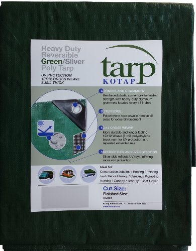 Kotap 40-ft x 40-ft Heavy-Duty 12 by 12 Cross Weave 8-mil Reversible Green/Silver Poly Tarp, Item: ()